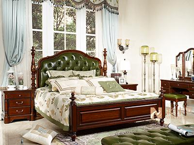 润达名-北卡罗家具美式简美卧室胡桃木实木双人大床 床头柜 梳妆台