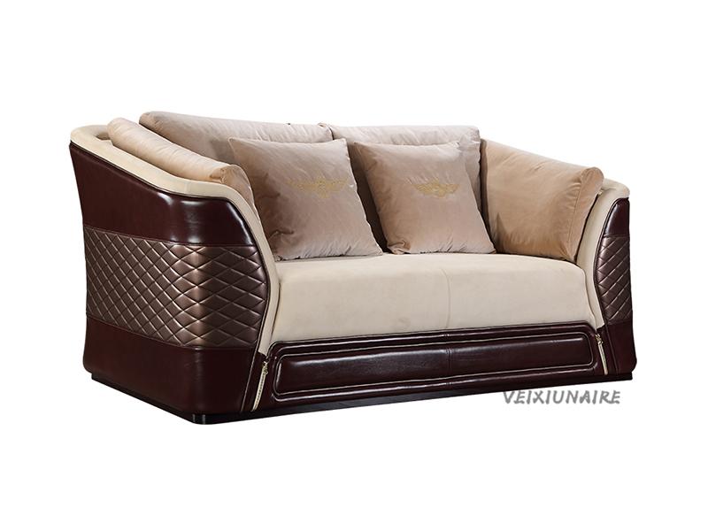 VEIXIUNAIRE微秀娜家具 意大利风格轻奢客厅皮艺双人位沙发1221-2