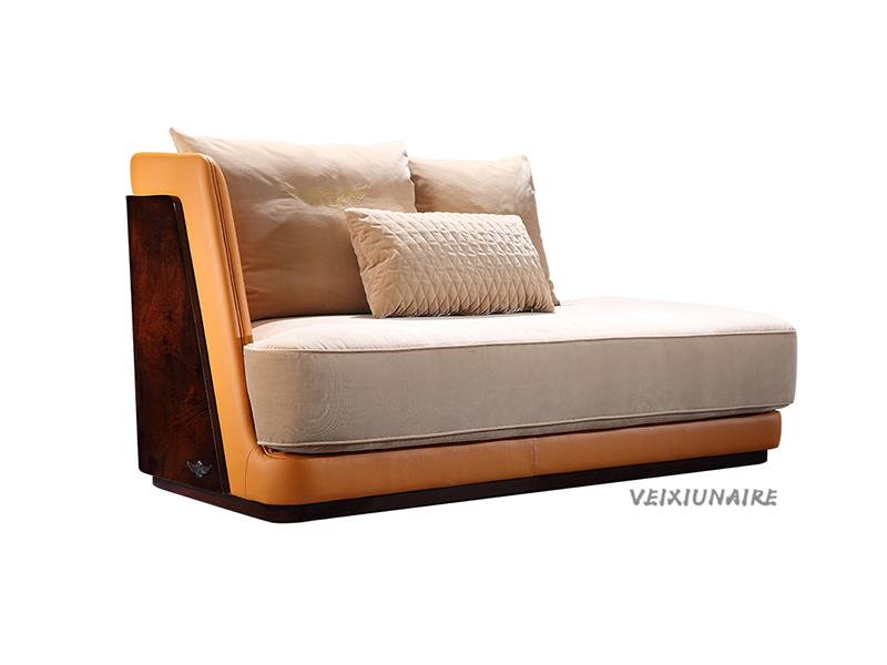 VEIXIUNAIRE微秀娜家具 意大利风格轻奢客厅皮艺贵妃沙发1232