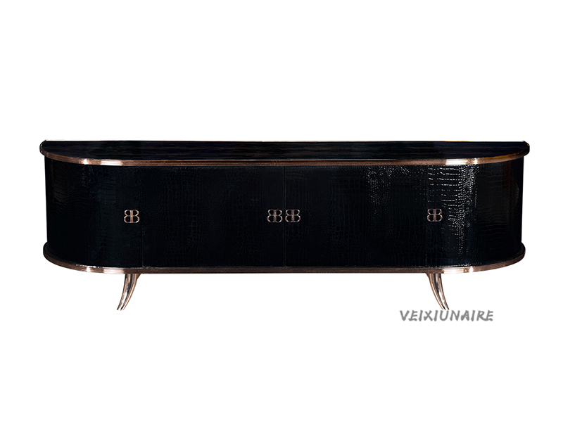 VEIXIUNAIRE微秀娜家具 意大利风格轻奢客厅黑色电视柜1235