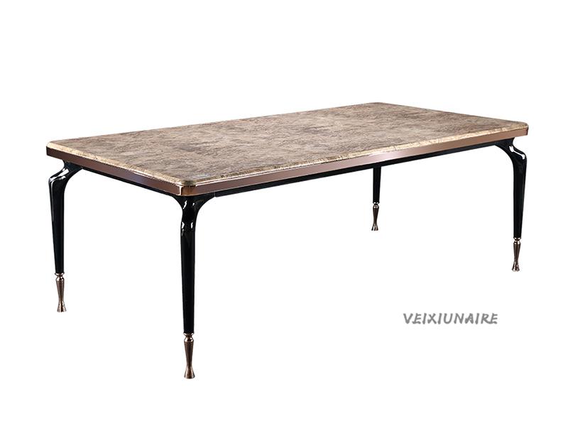 VEIXIUNAIRE微秀娜家具 意大利风格轻奢餐厅大理石面长餐桌1815