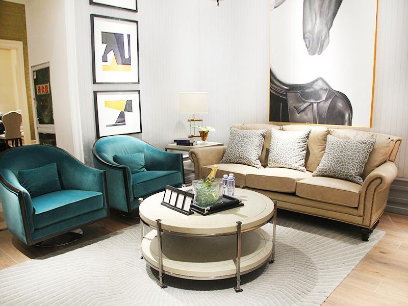 美郡家居·BOFFIN柏纷 美式轻奢客厅皮艺三人位沙发/单人位沙发/圆茶几