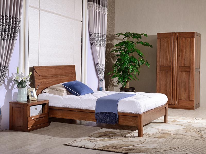 澳凡家具现代中式卧室南美胡桃纯实木儿童床/床头柜/卧室家具/双门衣柜