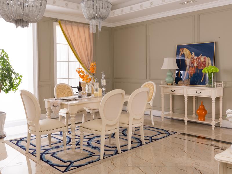 达西美家 美式餐厅桃花心木实木1.6M长餐桌/无扶手餐椅