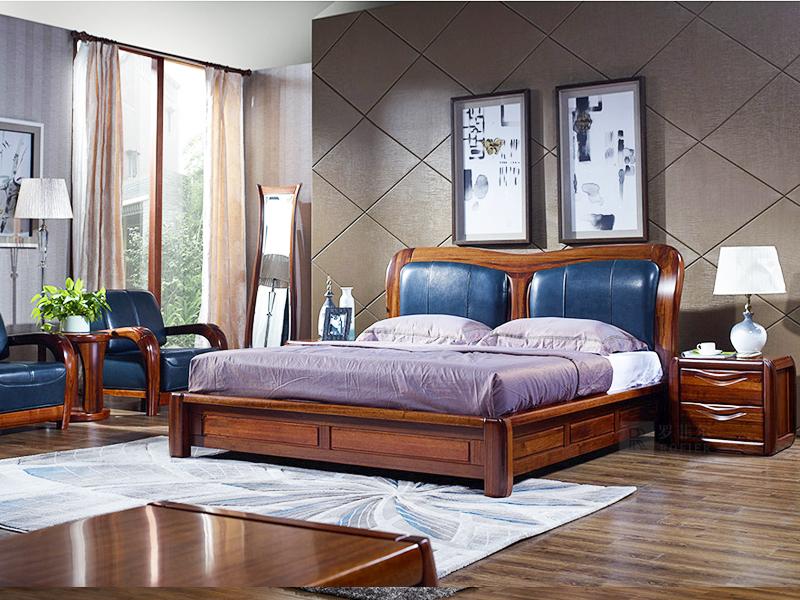 罗菲尔家具现代中式金丝檀木实木双人床CF01床/床头柜/婚床