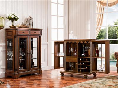 润达名-北卡罗家具美式新古典餐厅实木餐边柜/置物柜