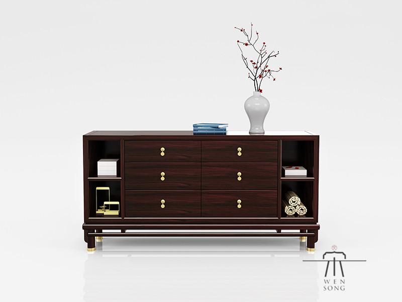东成文宋家具新中式卧室黑酸枝红木和风长斗柜