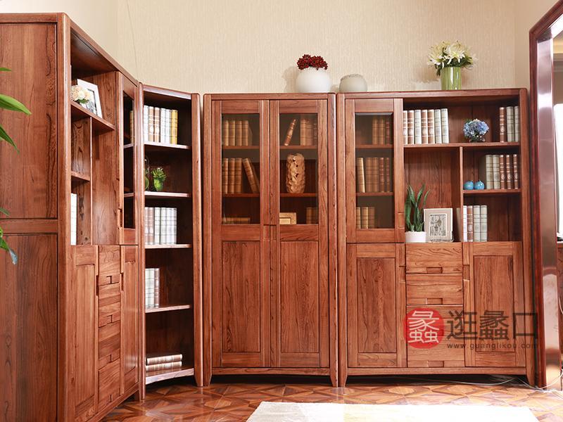 木容尚品家具全实木书柜北欧简约书橱书架组合书柜玻璃门转角