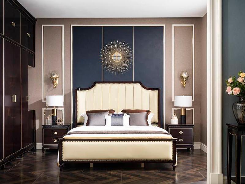 帝欧华庭家居轻奢卧室红榉木实木双人床/床头柜Q510C床