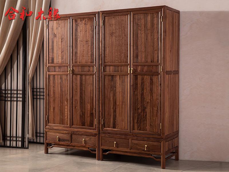 【合和木缘】家具北美黑胡桃新中式卧室衣柜GY-hD72