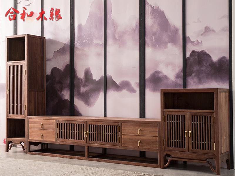 【合和木缘】家具北美黑胡桃新中式客厅电视机柜GY-hT71