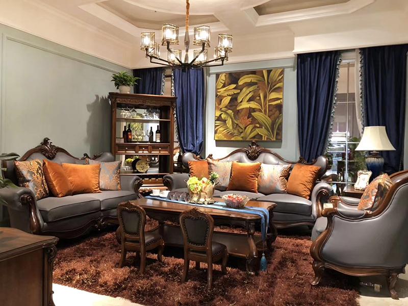 大森家私家具欧美客厅德国红榉木实木双人位/三人位/单人位沙发组合/茶几/角几/新款