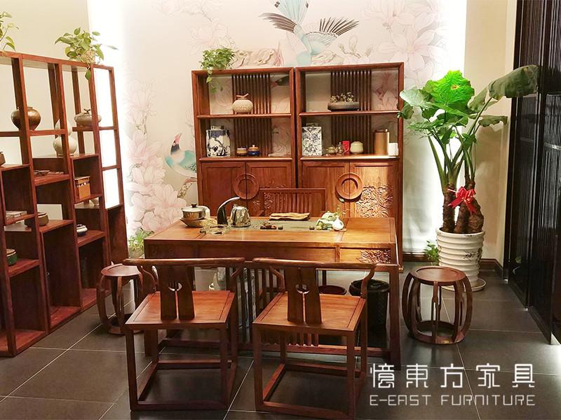 忆东方红木书柜书桌椅