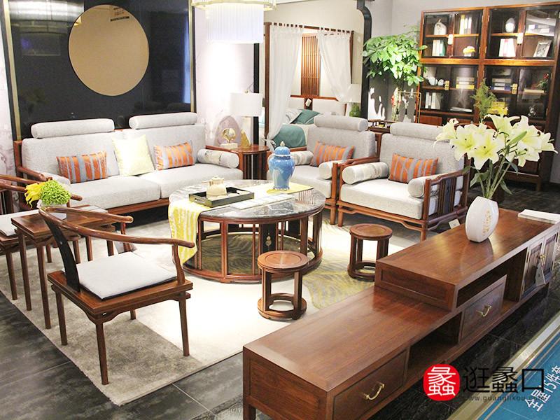 雅梨新中式家具新中式客厅文雅简洁香花梨红木沙发茶几组合