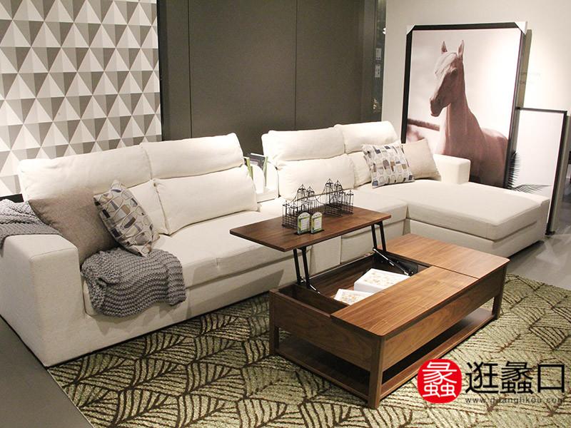 夏奈家具现代客厅简约时尚纯白舒适沙发茶几组合