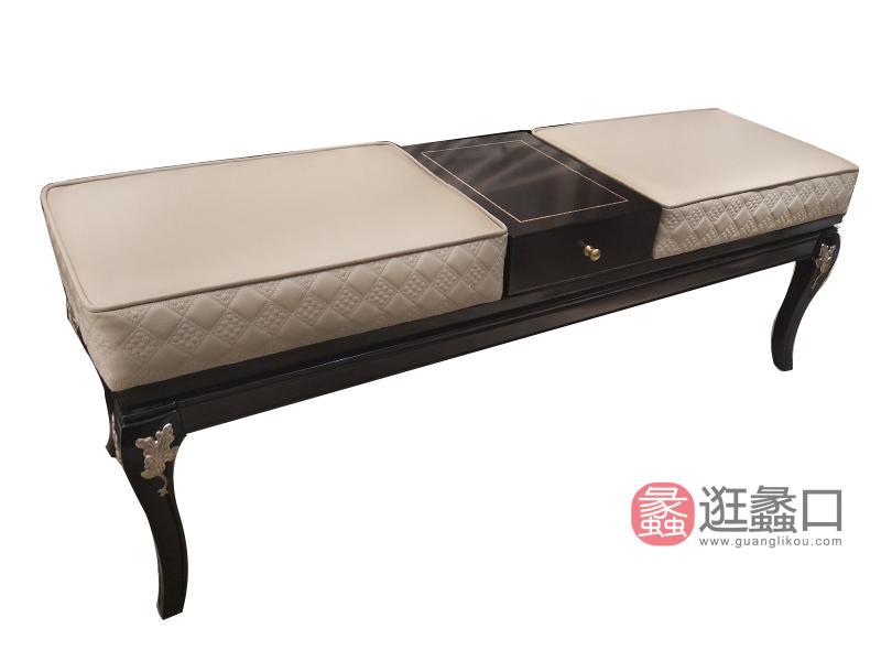 应氏家居·缇迈系列意式轻奢新古典卧室实木床尾凳