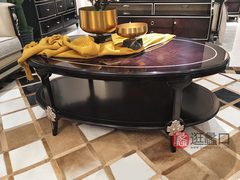 应氏家居·缇迈系列意式轻奢新古典客厅实木椭圆型茶几