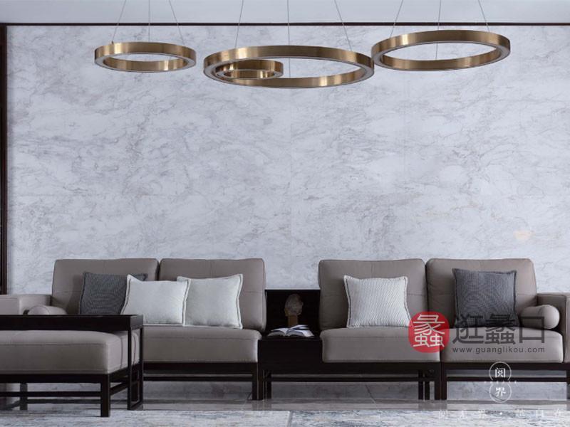 阅界新中式家具新中式客厅紫檀实木舒适软包沙发