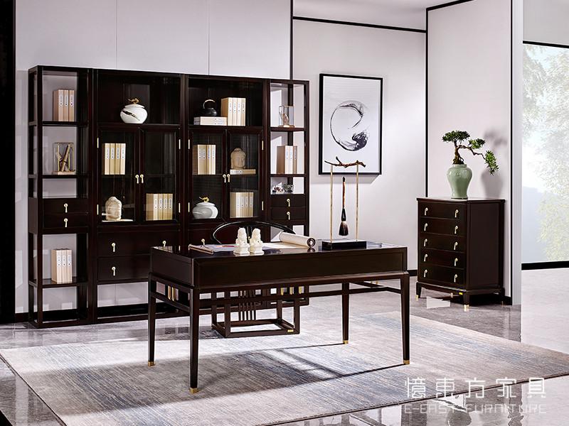 【荟萃东方·欧尚格家居】新中式书房海棠木实木典雅书桌椅书柜组合
