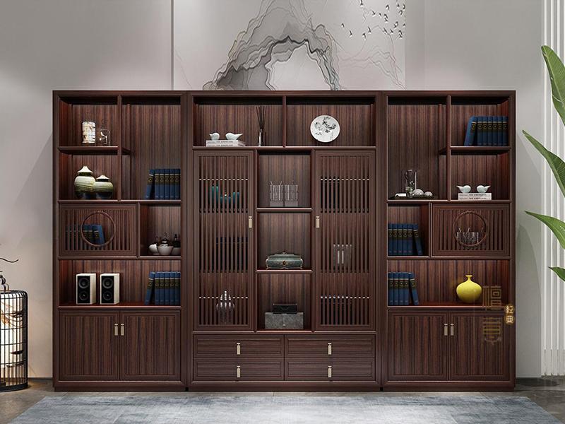意利达·檀意家具新中式书房实木黑檀木书柜
