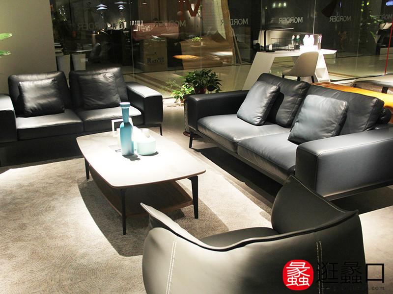 尚摩风范家具意式现代极简客厅时尚皮质沙发茶几组合