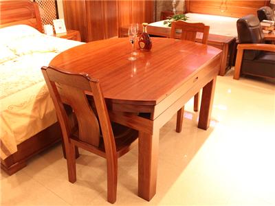 名豪迪克sbf胜博发新中式餐厅金丝檀木实木折叠餐桌椅