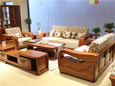 名豪迪克家具新中式客厅金丝檀木实木双人位/三人位/双人位沙发组合/茶几