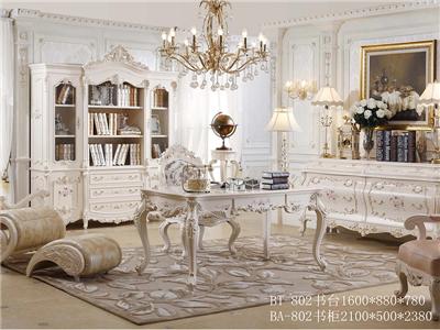 爱丽舍宫家具·爵典家居欧式浅色实木雕花书房书台/书椅/书柜