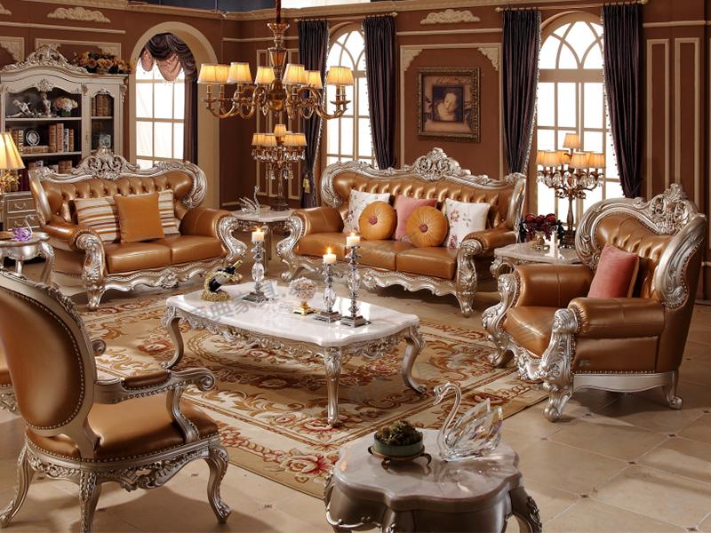爱丽舍宫家具·爵典家居欧式客厅实木真皮F-890利发国际+R-806a-1长茶几+R-832休闲几