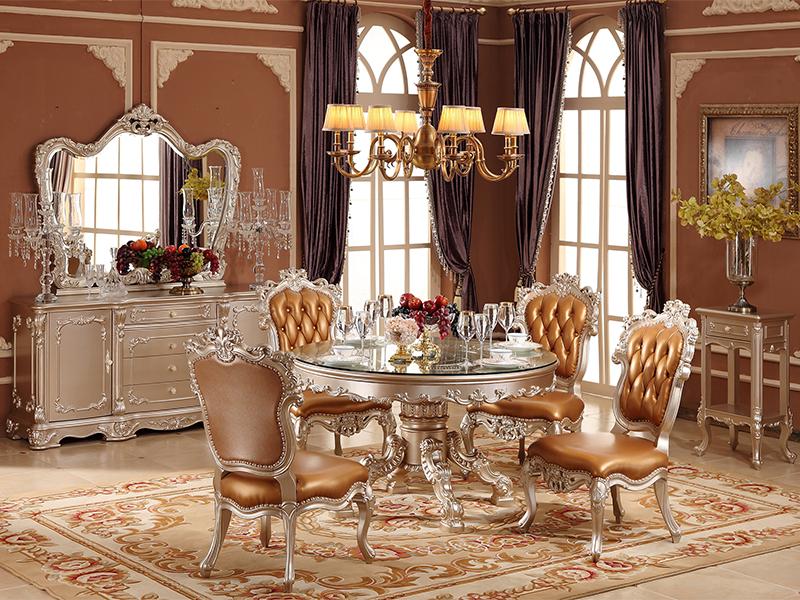 爱丽舍宫家具·爵典家居欧式餐厅实木餐桌椅/圆餐台/餐边柜