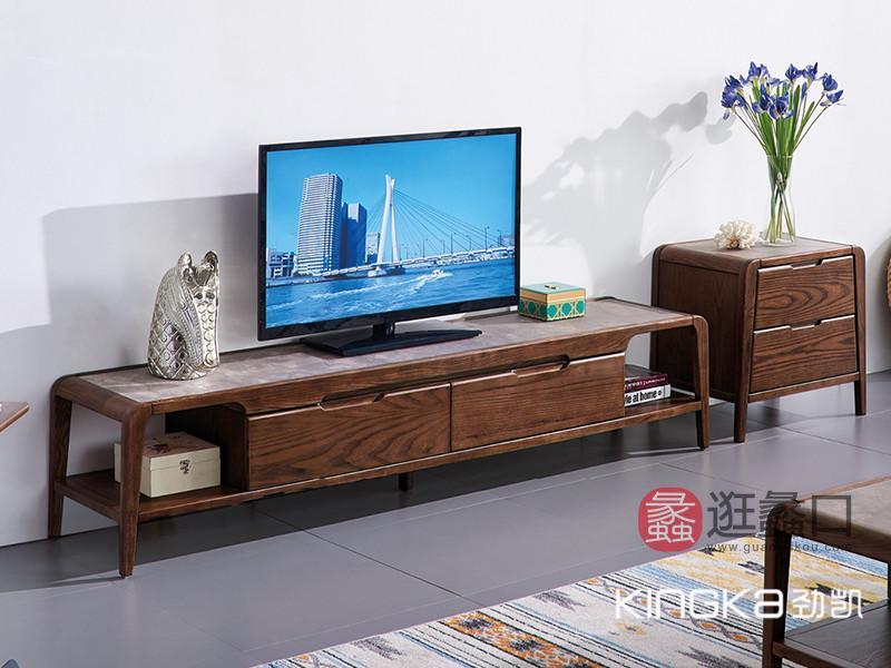 劲凯家居现代北欧客厅北美白蜡木实木简约电视机柜