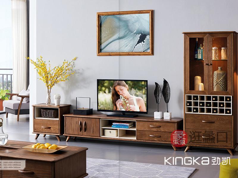 劲凯家居现代北欧客厅北美白蜡木实木实用多功能电视机柜组�