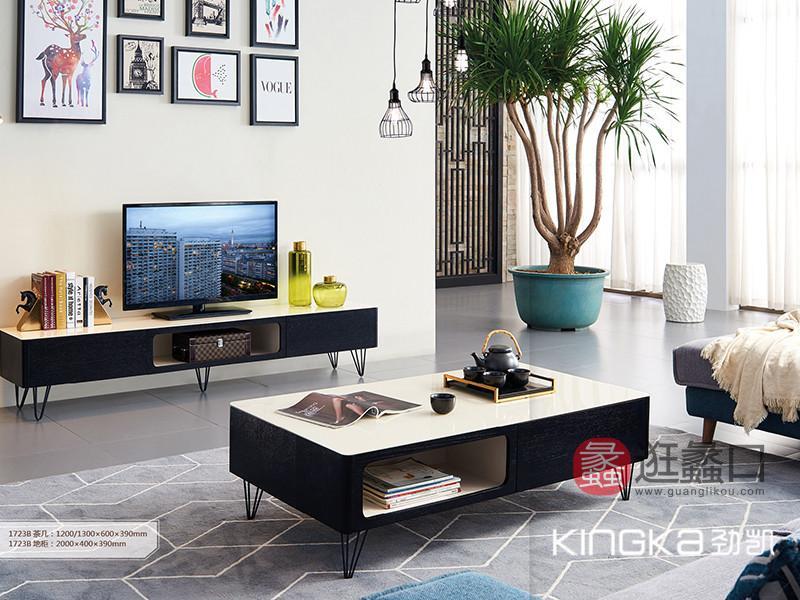 劲凯家居现代北欧客厅北美白蜡木实木实用抽屉�电视机柜+茶几/茶边几组�