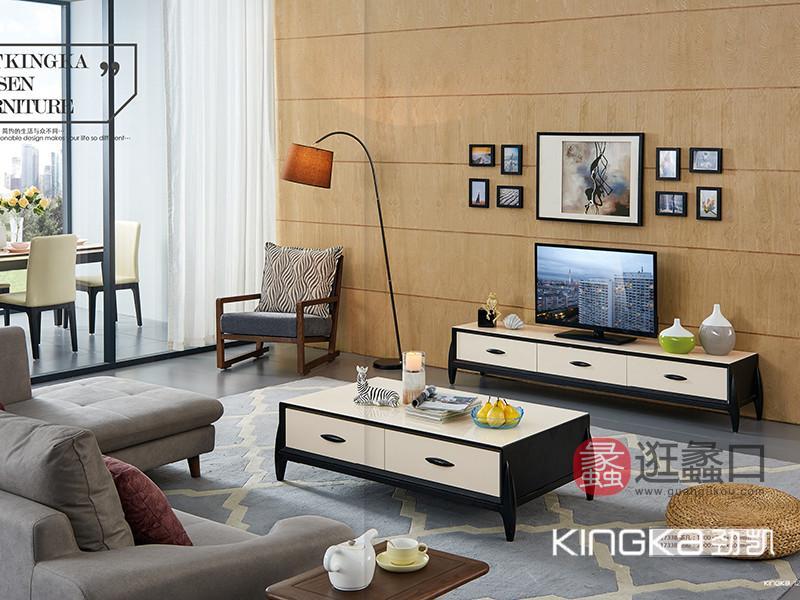 劲凯家居现代北欧客厅北美白蜡木实木简约抽屉�黑白色电视机柜