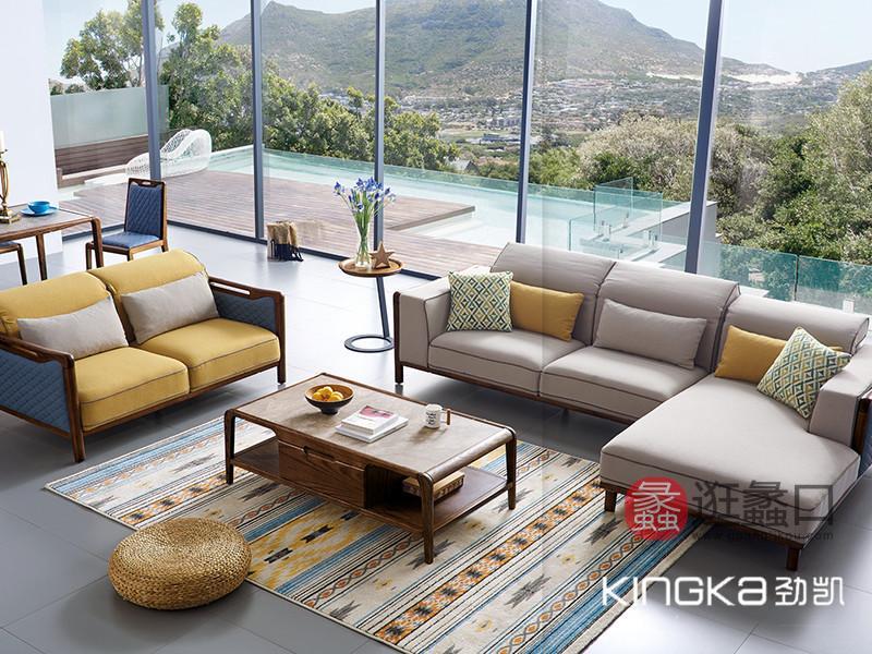劲凯家居现代北欧客厅北美白蜡木实木时尚布艺软靠转角沙发