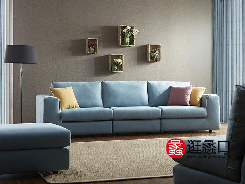 顾家家居 现代简约客厅三人位布艺BY.601沙发