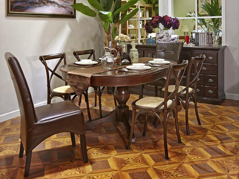 90空间家具·爵典家居美式餐厅实木餐桌椅(圆餐桌椅)/餐边柜
