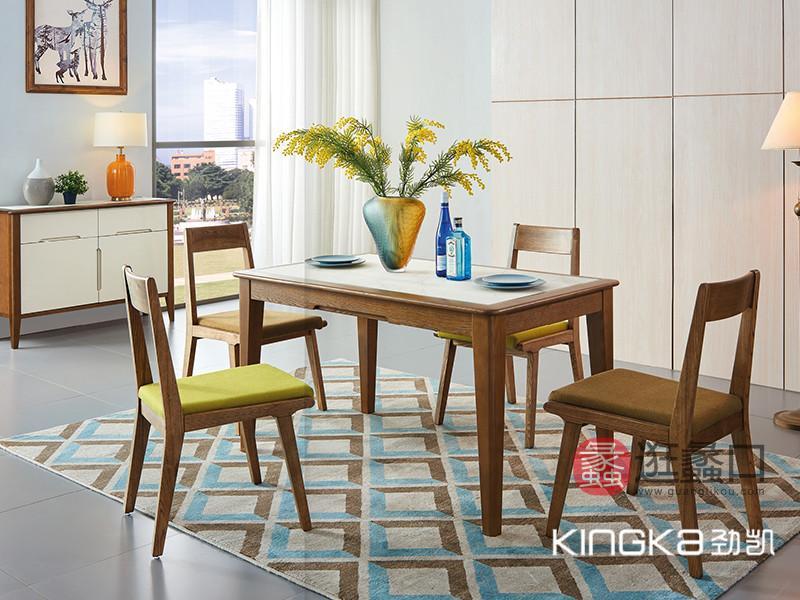 劲凯家居现代北欧�厅北美白蜡木舒适布艺软座�桌椅组�