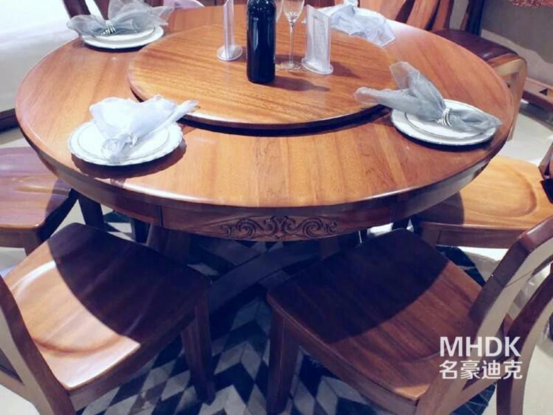 名豪迪克家具新中式餐厅金丝檀木实木现代休闲餐桌椅组合