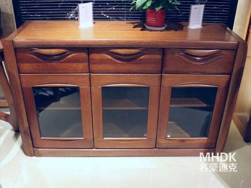 名豪迪克家具新中式餐厅金丝檀木实木多功能餐边柜
