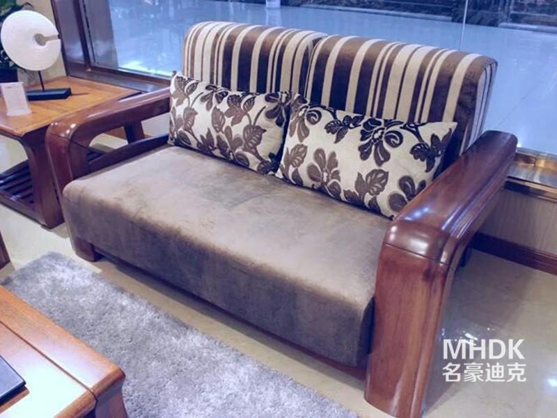 名豪迪克家具新中式客厅金丝檀木实木双人休闲沙发