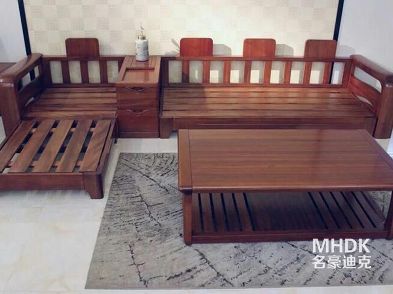 名豪迪克sbf胜博发新中式客厅金丝檀木实木带贵妃榻沙发茶几组合