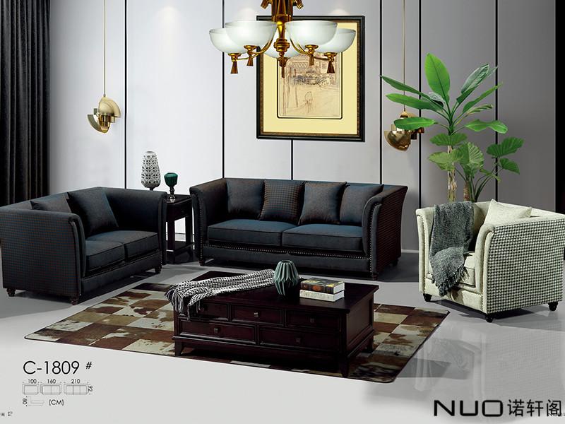 诺轩阁家具美式轻奢实木C-1809布艺软包沙发茶几组合