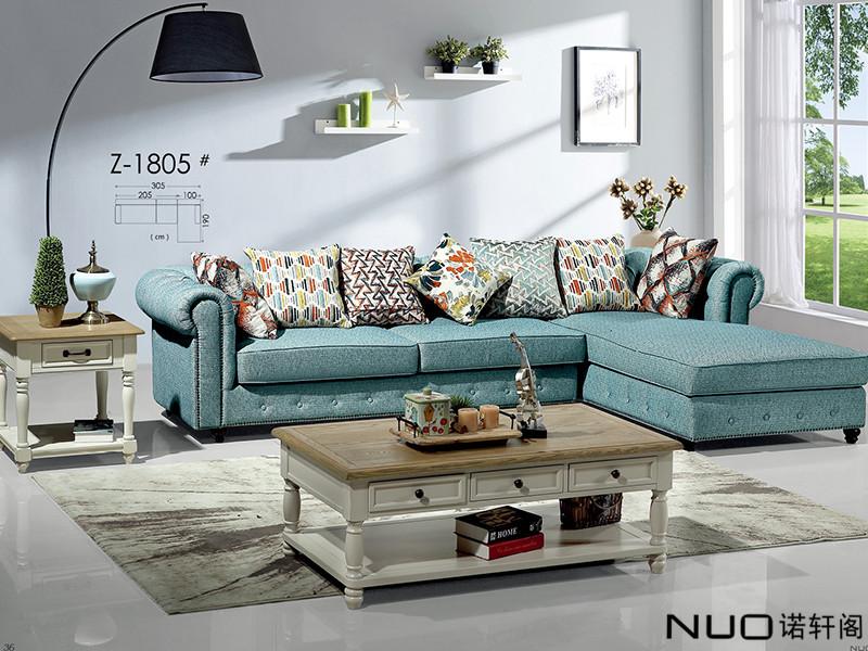 诺轩阁家具美式轻奢客厅实木Z-1805带贵妃榻沙发组合