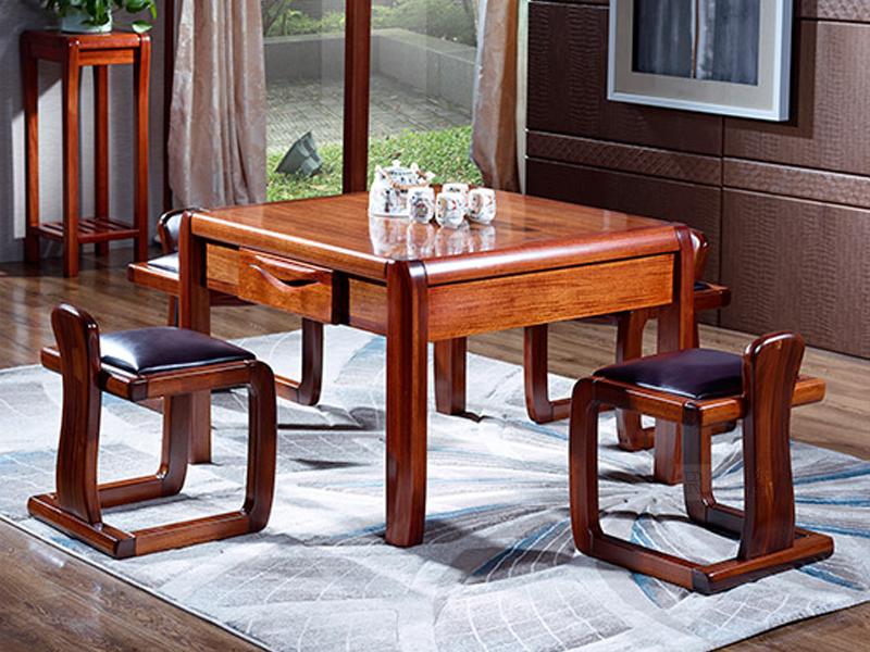 罗菲尔家具中式餐厅金丝檀木实木CF01茶道桌/CF02茶道椅