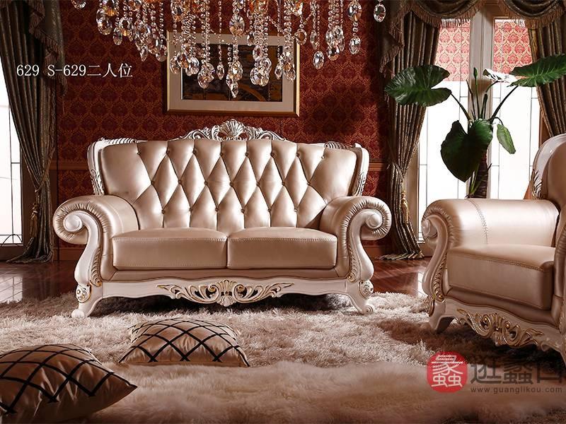 爵典家居·金富丽sbf胜博发·富丽公馆欧式客厅实木真皮单人位沙发S-630