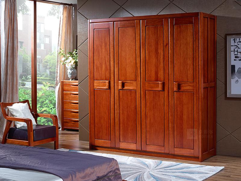 罗菲尔家具 中式 卧室家具海棠木实木CM06四门衣柜