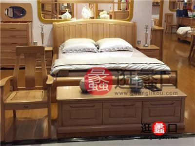 尚木sbf胜博发简约现代卧室榉木实木双人床/床头柜
