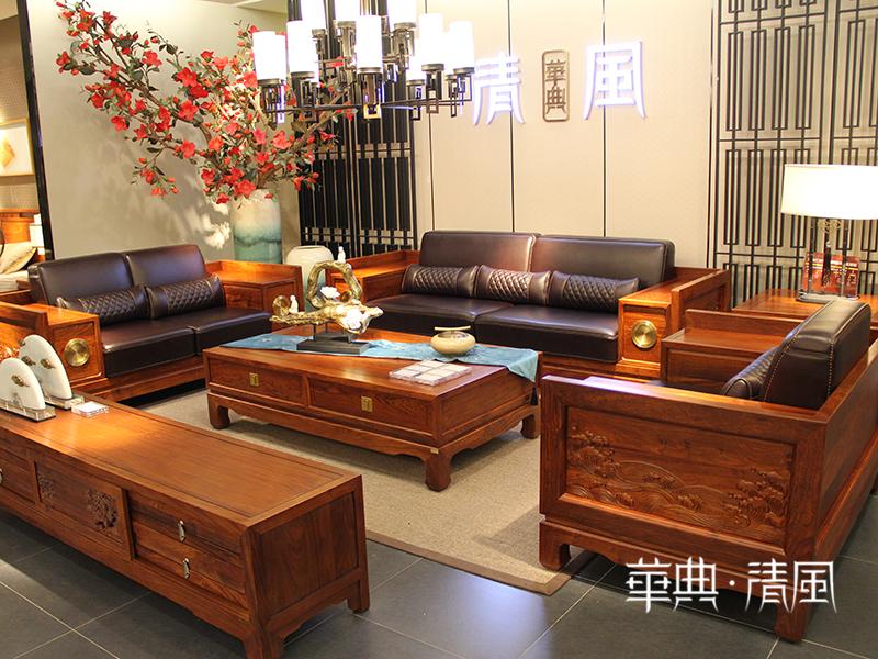 华典清风·欧尚格家居家具新中式客厅实木刺猬紫檀沙发/茶几/角几