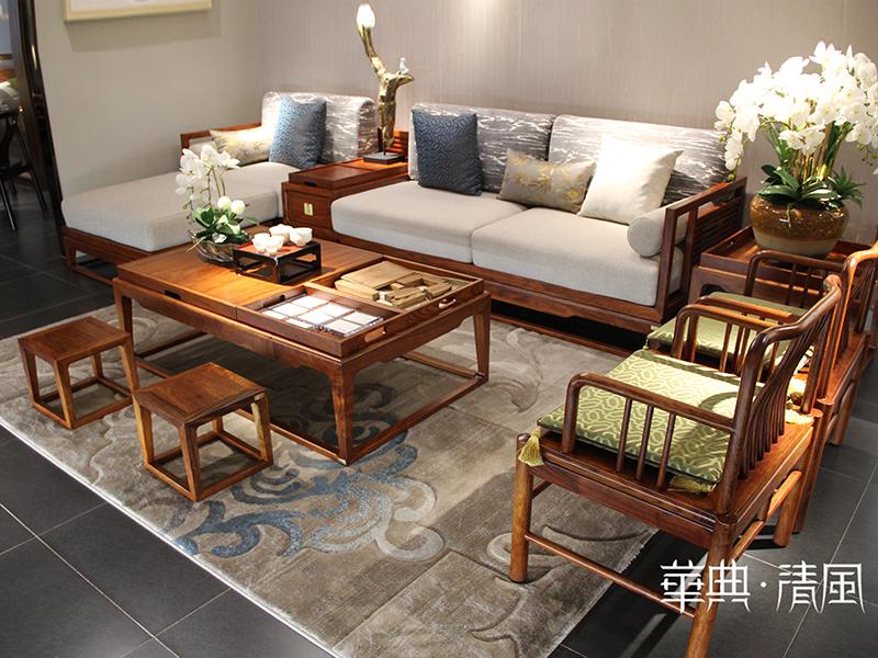 华典清风·欧尚格家居家具新中式客厅实木刺猬紫檀沙发组合/茶几